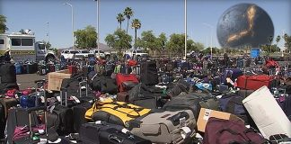 Piles of unclaimed luggage at Phoenix's Sky Harbor Airport during Mercury Retrograde.
