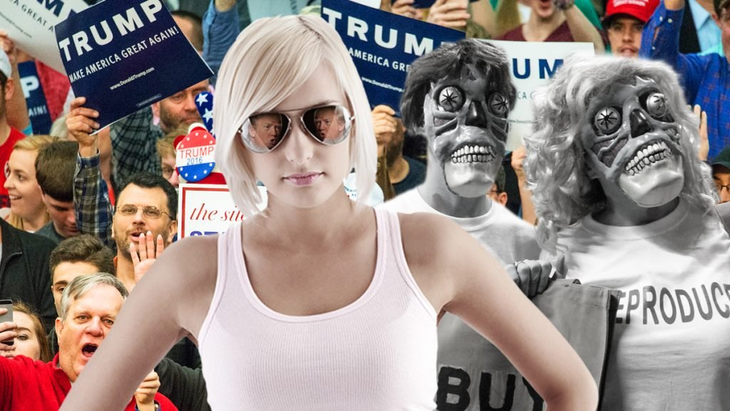"Special sunglasses when worn, change the appearance of Trump supporters to ""skeleton-like monsters."""