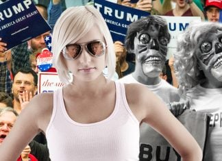 """Special sunglasses when worn, change the appearance of Trump supporters to """"skeleton-like monsters."""""""