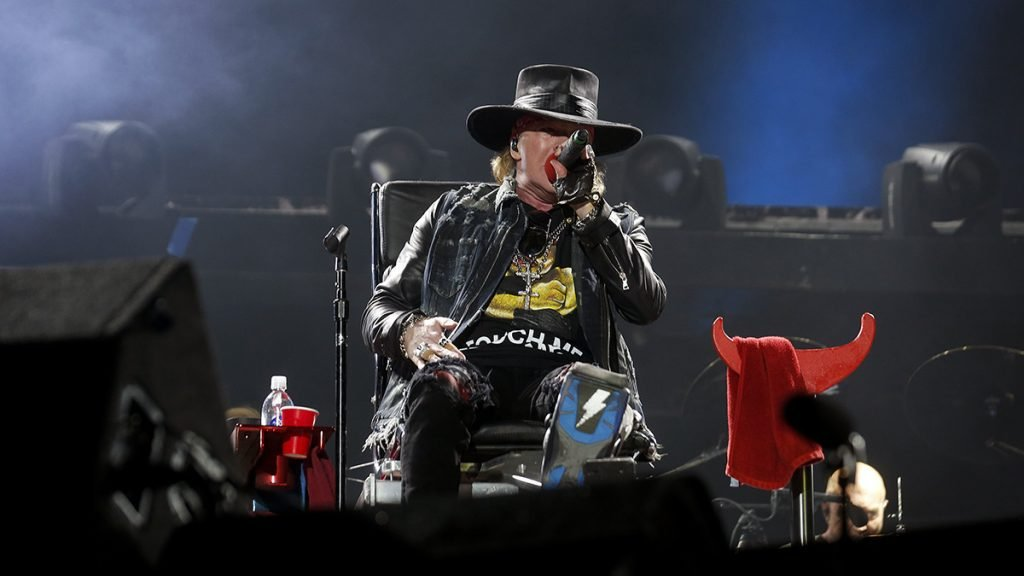 Axl Rose seen here restrained in a chair giving a phenomenal performance in Lisbon, Portugal.