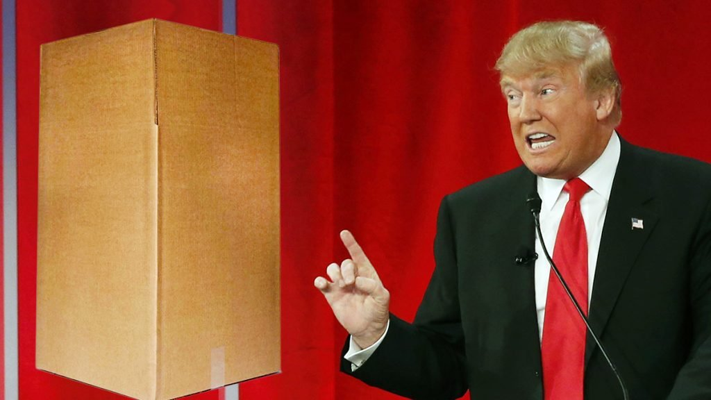 Donald Trump has declined to debate a large cardboard box.