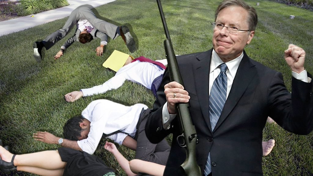 "Wayne LaPierre tragically shotand Kills ""thoughts and prayers"" on his property."