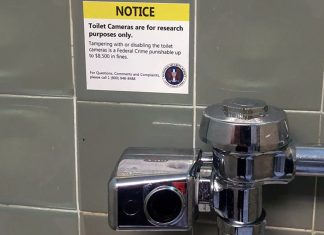 "A sample of Nevada City's ""toilet cam"" being installed in area restrooms."