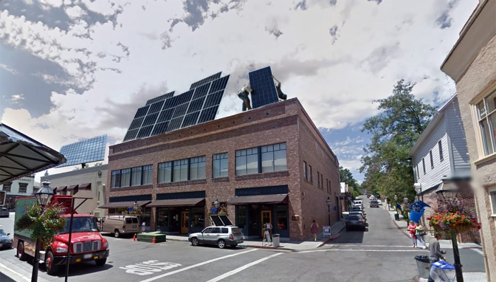 Despite fierce objections from conservative planners, Nevada City will have solar panels installed on all downtown rooftops by 2018.