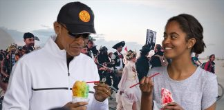 President Obama criticized the Burning Man art festival for a lack of diversity. Seen here in Honolulu with his daughter enjoying a shaved ice.