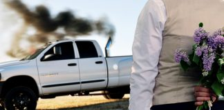 Dustin Jayce Dickens of Penn Valley, Ca seen here proposing to his Dodge RAM 3500.