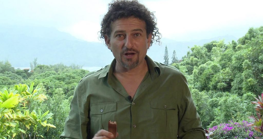 "David ""Avocado"" Wolfe seen here with a Snickers bar between takes of a pro-cannabis video on the Big Island of Hawaii."