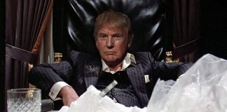 Part of the Donald Trump debate prep is sniffing cocaine through 1000 dollar bills.