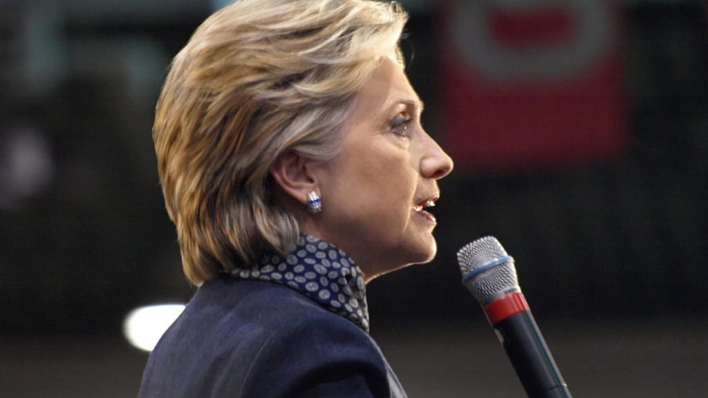 Hillary Clinton seen here at a suburban Pittsburgh campaign stop criticizing Ayn Rand fans.