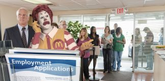 Ronald McDonald seen here at the Illinois Department of Employment Security.