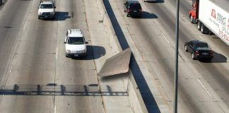 An area abandoned mattress has pretty much given up on life after being abandoned on a Los Angeles freeway.