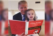 Donald Trump seen here reading Mein Kampf for Dummies to his grand daughter.