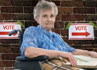 Elaine Tesh apprehended a man attempting to vote twice.