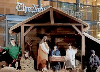 "The Trump/Fox News sponsored ""protest"" live nativity scene outside New York Times headquarters."