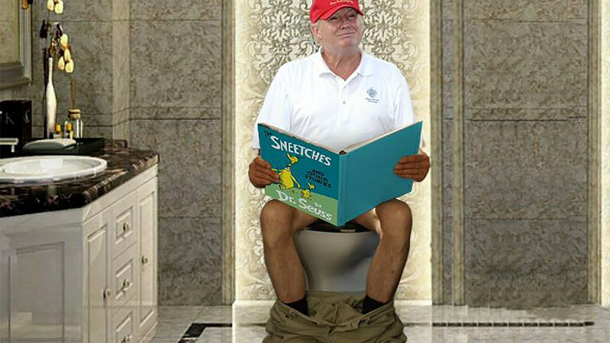 Trump defecating while reading his favorite book The Sneetches.