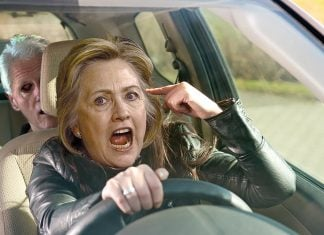 Hillary Clinton , apparently succumbing to road-rage, as run-over a Fake News writer.