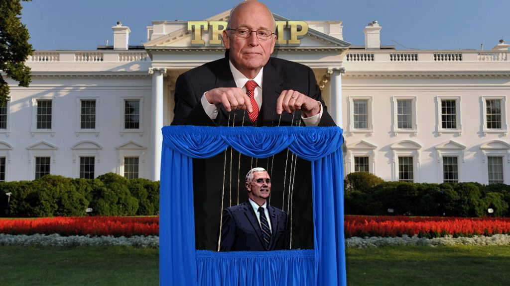 Dick Cheney models proper presidential puppeteering to Vice President Pence.