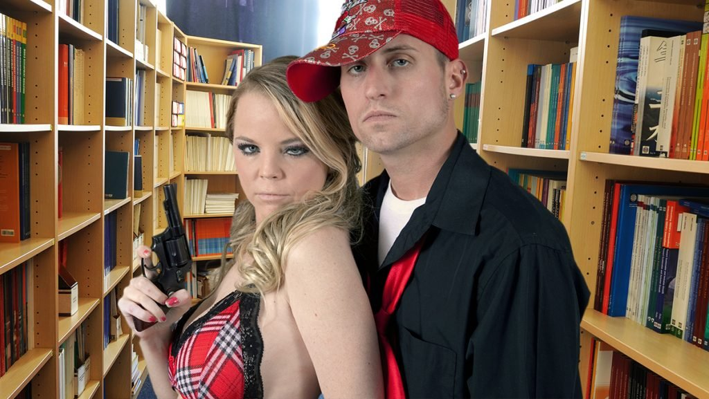 Cameron Whalen and Jennifer Myers seen here not knowing what to do in Liberty University's Robert E. Lee Library.