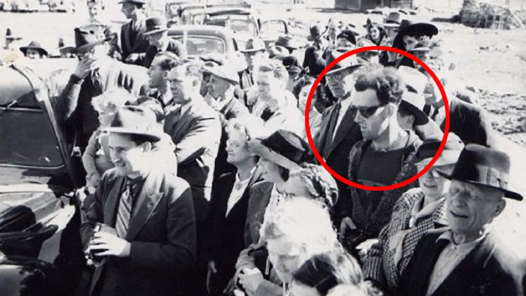 John Titor famously and accidentally caught in a 1950s photograph.