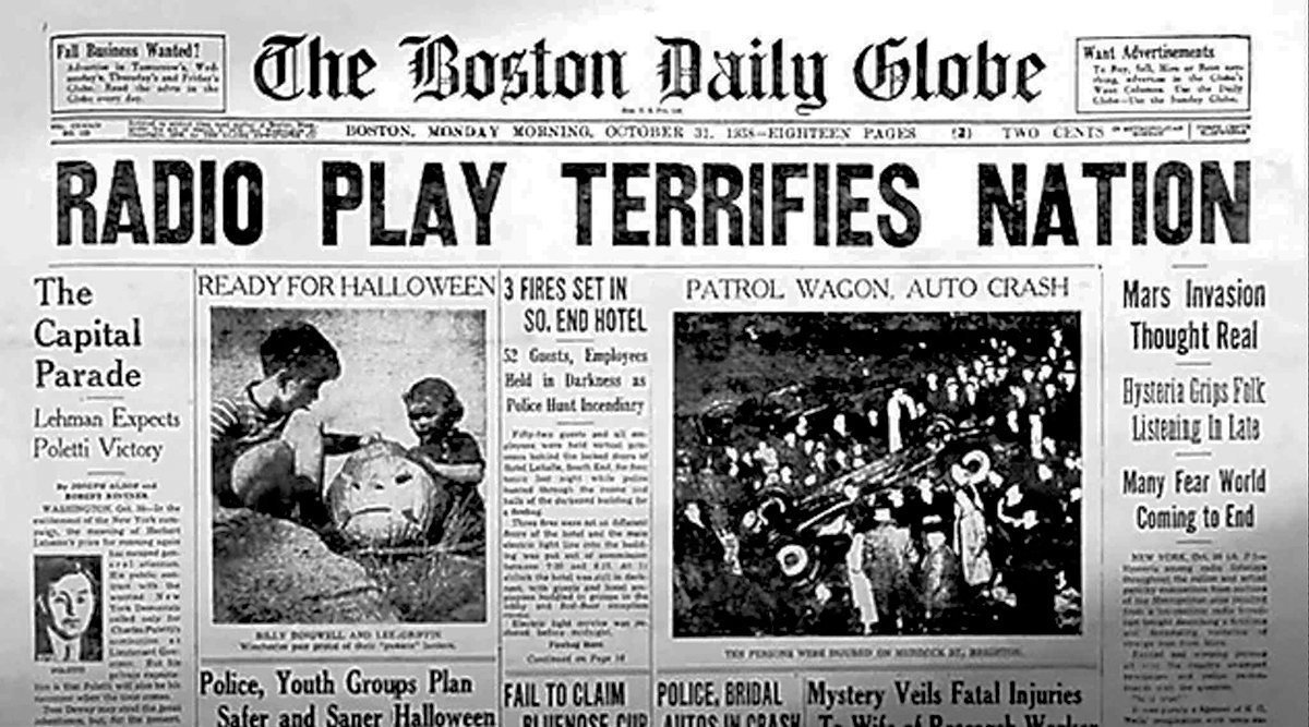 Following the radio broadcast of War of the Worlds, many newspapers ironically claimed that the drama had caused wide-spread panic. This lead to the producers of radio show to conclude that Americans are really stupid.