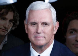 Vice President Mike Pence staring longingly at Canadian Prime Minister Justin Trudeau during his recent visit.