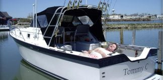 Cedar Ridge Resident seen here in his boat the Tommy C docked in the Sacramento Delta.