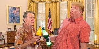 President Donald Trump and his chief advisor Steve Bannon drunk on malt liquor.
