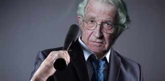 The normally mild-mannered Noam Chomsky let loose with a bat this weekend.