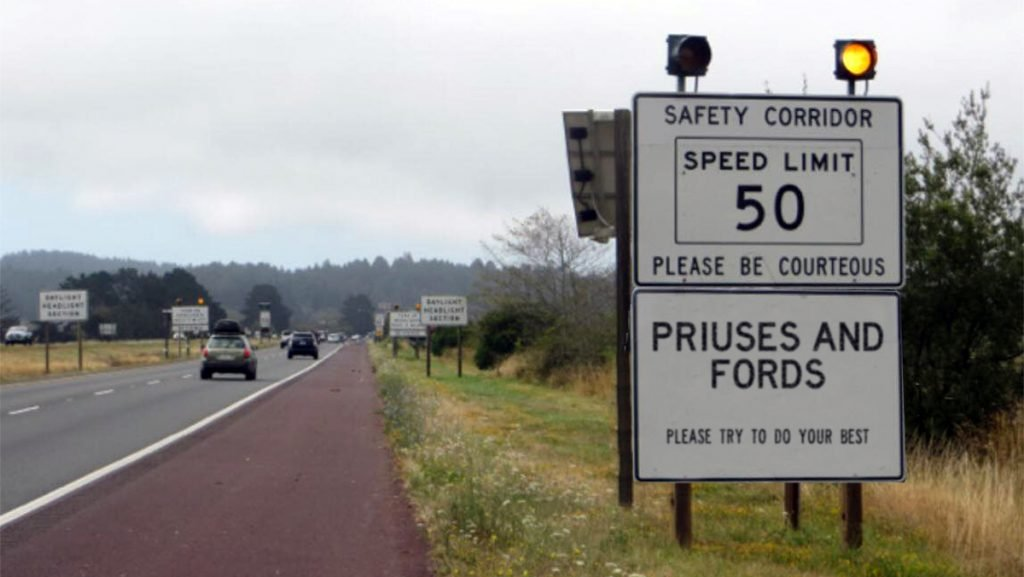 long-time Arcata, CA resident and Prius driver 'Peace Witherspoon' snapped this picture of the controversial sign before it was removed earlier this week.