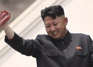 North Korean leader Kim Jong-un seen here celebrating his successful hacking of the Coca-Cola formula.