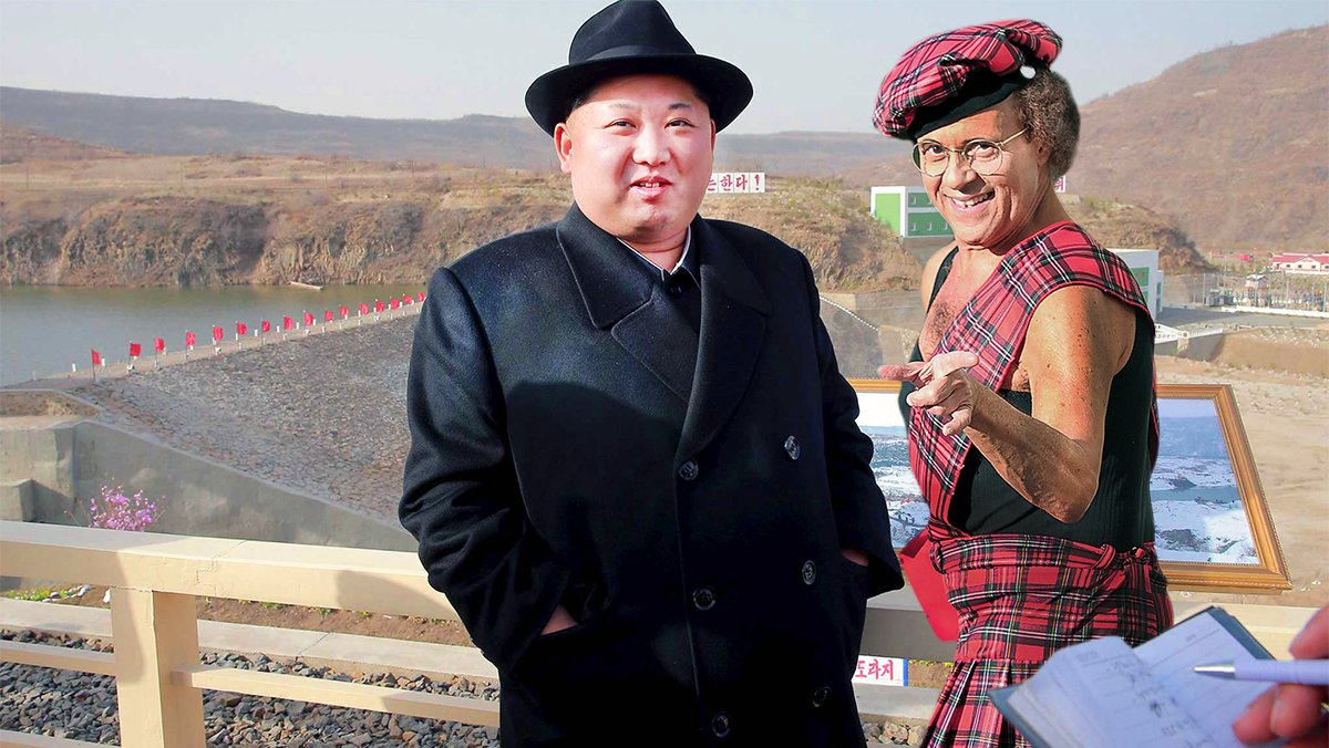 North Korean leader Kim Jong Un with a scantily clad Richard Simmons. released by North Korea's News Agency