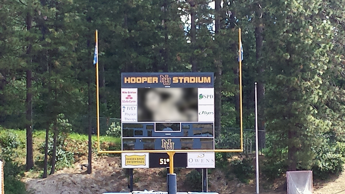 """""""Russian"""" hackers have claimed responsibility for placing adult movies on an area high schools JumboTron. Source: High School Senior Kevin Thomas."""
