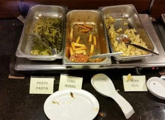 The remnants of Capo Pasta Buffet in Ontario, CA.