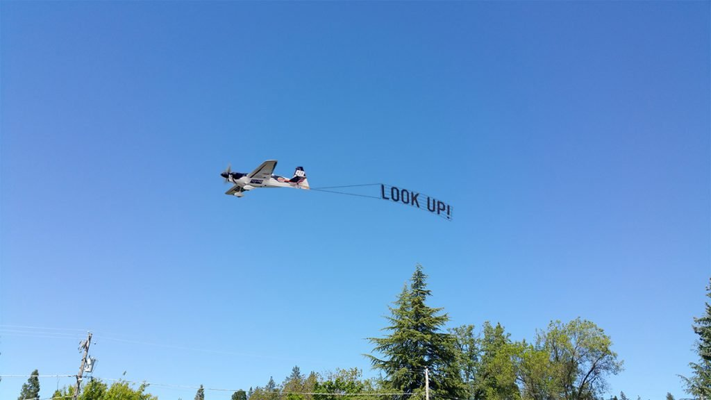 "The Nevada County anti-Chemtrail group ""Look Up!"" celebrated the 201st Day without spraying."