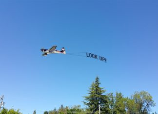 """The Nevada County anti-Chemtrail group """"Look Up!"""" celebrated the 201st Day without spraying."""