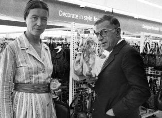 French Existentialists Jean-Paul Sartre and Simone de Beauvoir were removed from an area Ross Dress for Less after Mr. Sartre refused to extinguish his cigarette.