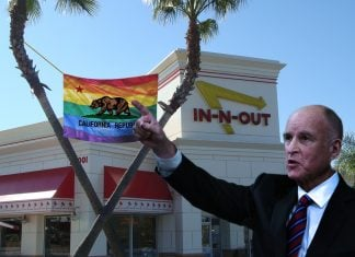 California Governor Jerry Brown seen here in front of a Irvine, CA In-n-Out burger commemorating LGBT Pride Month.