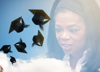 Television star Oprah Winfrey surprised 75 Chicago-area students with new cars.