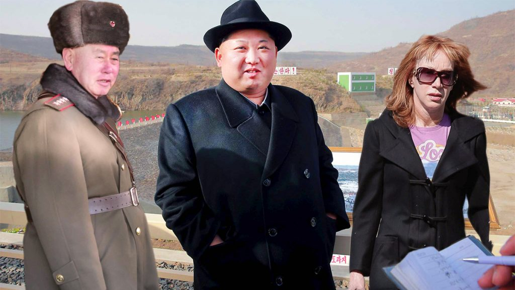 "North Korean leader Kim Jong-un seen here in a hastily taken picture with American comedian Kathy Griffin during her 2013 ""No Regrets"" Asian Tour."