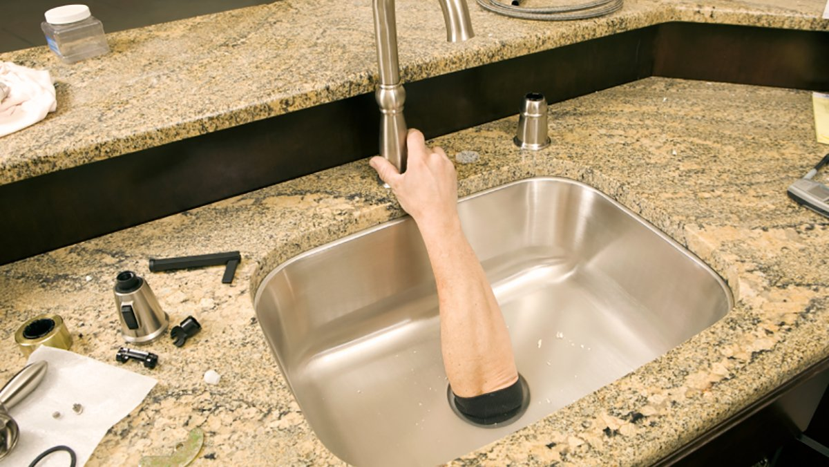 Area man Jamie Igo had to install a new faucet by himself following a rather heated argument with his wife.