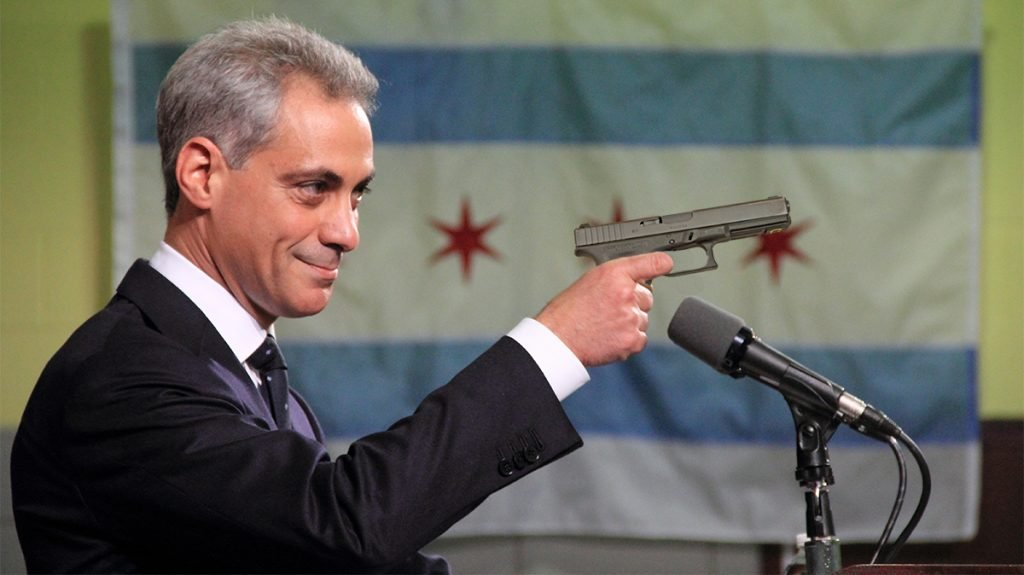 Chicago Mayor Rahm Emanuel Outlaws Gun Violence. See here showing school children how not to operate a gun.