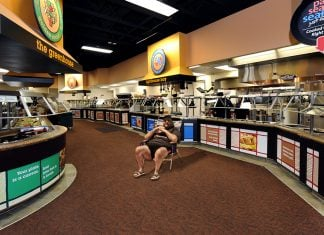 New Jersey Governor Chris Christie seen here waiting to enjoy the entire Golden Corral to himself.