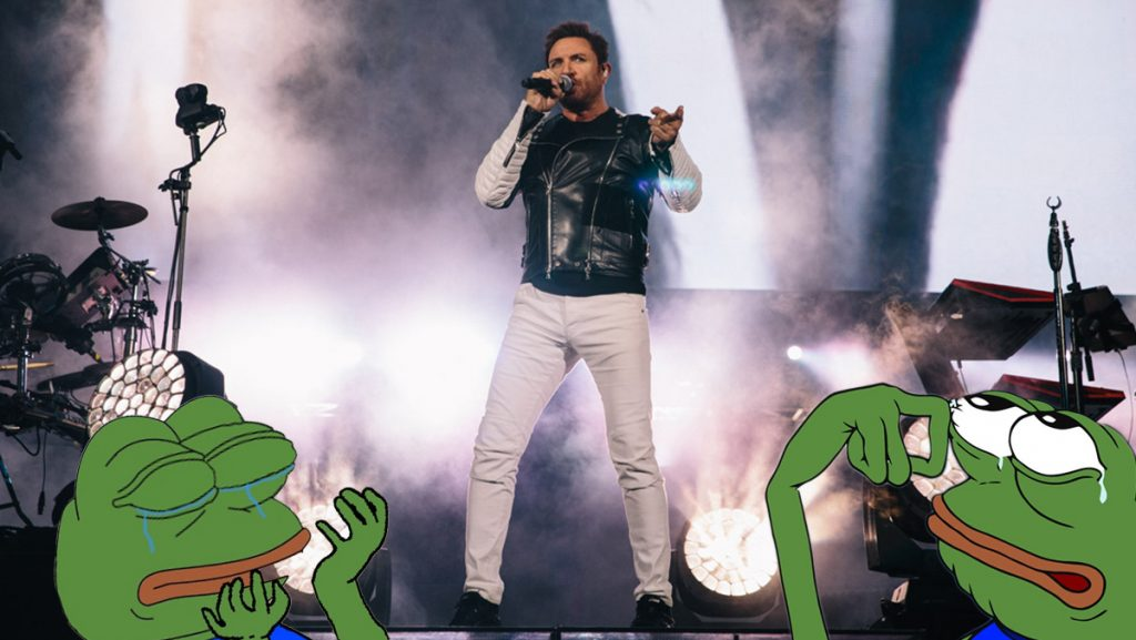A group of self-proclaimed Kekistanis at a Duran Duran concert tried to make an ironic appearance in the front row.
