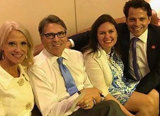 """White House Communication Director Anthony """"The Mooch"""" Scaramucci grabbing Press Secretary Sarah Huckabee Sanders by the Mooch."""