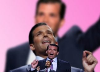 Fake Donald Trump, Jr., son of Republican President Donald Trump
