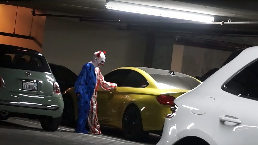 Security Cameras spot a clown finding a place to sleep in Capitol building parking garage in Washington D.C.