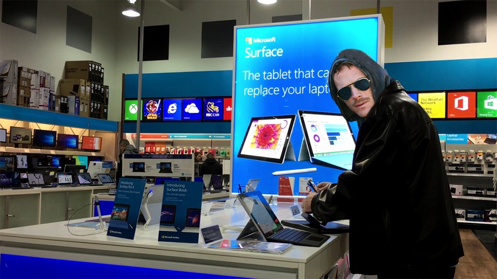 Ted Kaczynski, the former Unabomber, seen here browsing the selection of Microsoft Surface products at an area Best Buy.