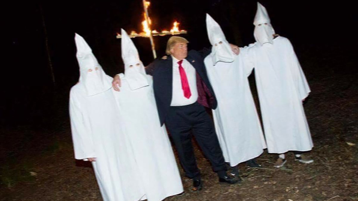 A photo leaked by a Trump Golf Club employee depicting the President practicing for a Charlottesville rally with mock KKK members.