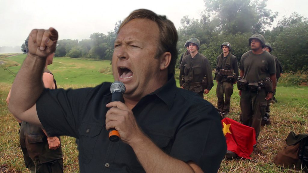 Conspiracy theorist Alex Jones is calling on Trump supporters to join the reenactments of the upcoming globalist civil war being held across the country in October.