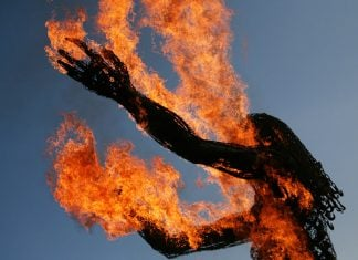 "One of the first prototypes of the new ""Burning Person"" to be featured at next year's festival."